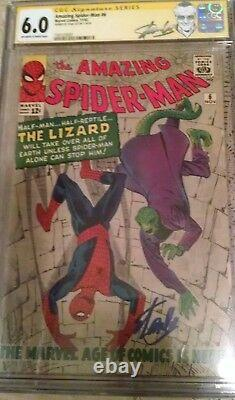 Stan Lee hand signed Amazing Spider-Man #6 CGC 6.0 signature series 1st Lizard