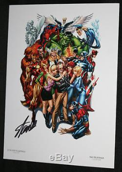 Stan Lee with His Marvel Heroes Print by J. Scott Campbell Signed by Stan Lee