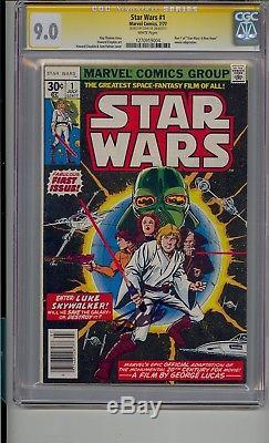 Star Wars #1 Cgc 9.0 Ss White Pages Signed Stan Lee A New Hope 1977 Movie