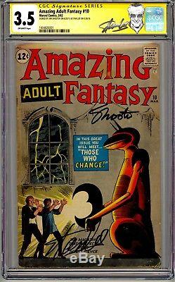 Steve Ditko Signed Album Cover Stan Lee Jim Shooter Amazing Adult Fantasy Cgc Ss