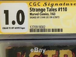 Strange Tales 110, 1st Dr. Strange, CGC Stan Lee Signed SS 1963 Marvel