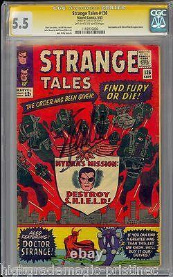 Strange Tales #136 Cgc 5.5 Ss Stan Lee Signed #1116970030
