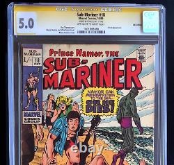 Sub-mariner #18 Signed Stan Lee, Uk Edition Price Variant Cgc 5.0 Ss 1969