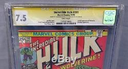 THE INCREDIBLE HULK #181 (Signed x2 Stan Lee, 1st Wolverine) CGC 7.5 Marvel 1974