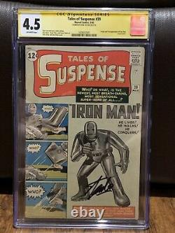 Tales of Suspense # 39 (First Appearance Of Iron Man) CGC 4.5 Signed By Stan Lee