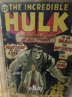 The Incredible Hulk #1 CGC SS 3.0 (restored) Signed by Stan Lee