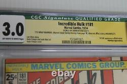 The Incredible Hulk #181 CGC Qualified 3.0 (Marvel) Signed by Stan Lee
