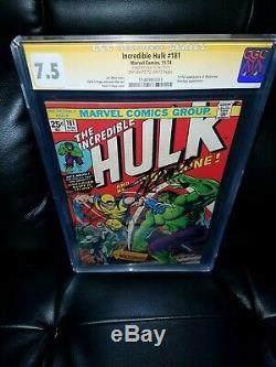 The Incredible Hulk #181 cgc 7.5 signed STAN LEE Beautiful copy