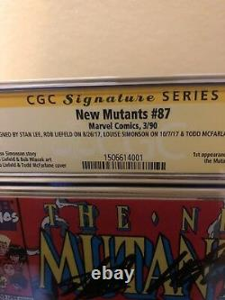 The New Mutants #87 CGC 9.4 SS 4X SIGNED STAN LEE 1ST APP CABLE 1ST PRINT