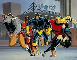 The X-Men Original Animation Production Cel Signed Stan Lee COA Deadpool