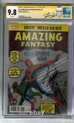 True Believers Amazing Fantasy #1 Signed By Stan Lee Cgc Ss Graded 9.8 Marvel