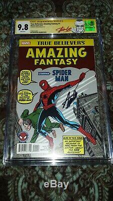 True Believers Amazing Fantasy #15 Cgc 9.8 Ss Signed By Stan Lee! Red Sig Label