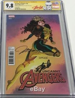 Uncanny Avengers #25 Rogue Cover Signed Stan Lee & Jim Lee CGC 9.8 SS Red Label