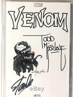 VENOM #1 CGC SS 9.8 Signed By Stan Lee & Todd McFarlane With Sketch Clayton Crain