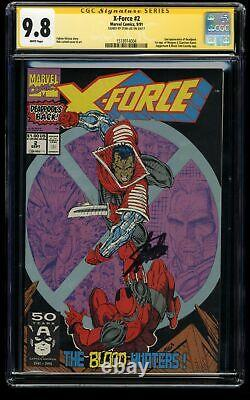 X-Force #2 CGC NM/M 9.8 White Pages 2nd Deadpool! SS Signed Stan Lee