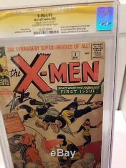 X-Men 1 CGC 1.8 SS Signed Stan Lee Origin 1st Magneto Prof X Kirby rusty staples
