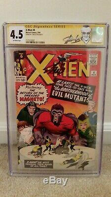 X-Men 4 CGC 4.5 SS 1st Scarlet Witch & Quicksilver 2nd Magneto Signed Stan Lee