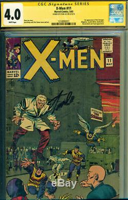 X-men #11 Cgc 4.0 White Pages! Signed By Stan Lee! 1st App Of The Stranger