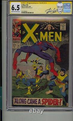 X-men #35 Cgc 6.5 Ss Signed Stan Lee Spider-man Classic Crossover