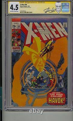 X-men #58 Cgc 4.5 Ss Signed Stan Lee 1st App Havok